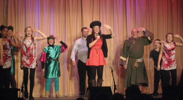 The cast of the New Addington panto, with centre stage as Robyn Hood. Bella assures us that Friar Tuck is not Tony Pearson...