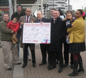 Chuka Umanna, with Tony Newman, the Labour leader on Croydon Council, and Croydon North MP Steve Reed, together with party supporters at East Croydon station yesterday