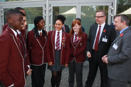 Former Murdoch hack Michael Gove (in glasses) visiting the Harris Academy in South Norwood with Tory parliamentary candidate Andy Stranack during the recent Croydon North election campaign. So using kids and what was a publicly owned building for political ends...