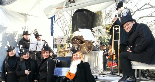 The Croydon float, with the London Mozart Players musicians, ready for Tuesday's parade
