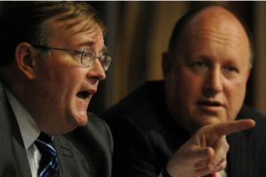 """""""Battle of the Titans""""? Croydon's politicians are led by Mike Fisher, left, and Tony Newman"""