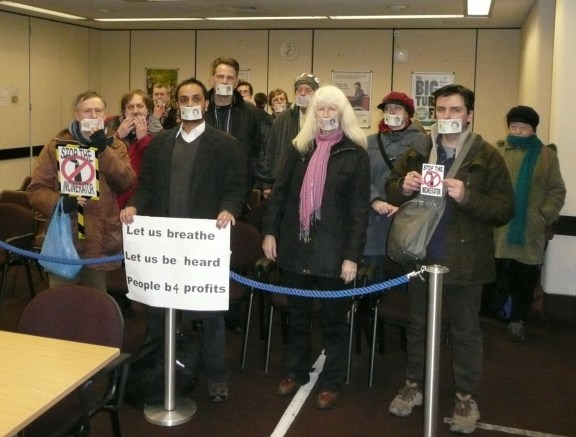 Anti-incinerator protesters make their point at last night's meeting of the Sutton Council development committee