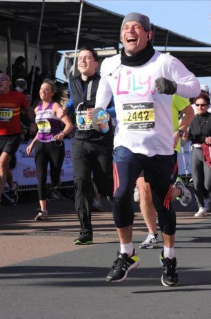 Tony Forzoni finishing the recent Brighton Half-marathon. He needs your support in this Sunday's London Marathon