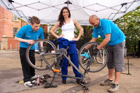 """On yer bike: TV presenter Christine Bleakley is """"backing"""" the Barclays bike fix scheme. But she won't be at South Norwood tomorrow"""