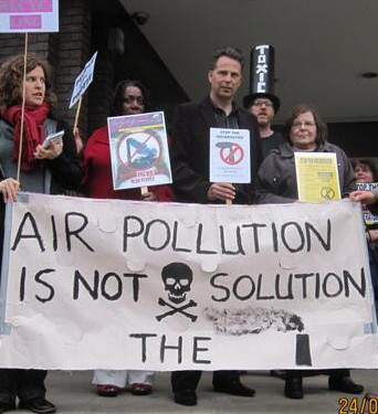 Croydon Labour deputy leader Stuart Collins at a Stop the Incinerator protest last year. Now he sits on the body commissioning the incinerator