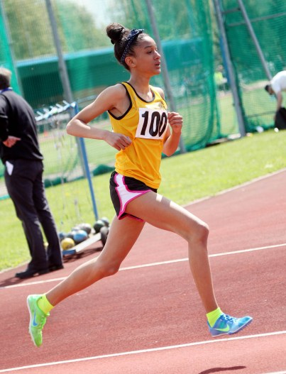 Bright future: local runner Katy-Ann McDonald won her first Surrey County track title at Kingsmeadow on Sunday. Photograph: Ray O'Donoghue