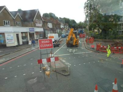 The road works that have just started on Old Lodge Lane. IMage by Gary Wilson of the Old Coulsdon Residents' Association