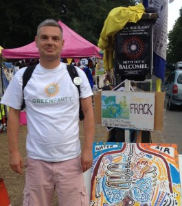 Gordon Ross, a leading member of the Croydon and Sutton Green party, at the Balcombe roadside anti-fracking camp this week