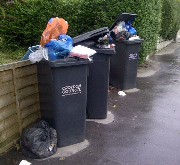 Every action has an equal reaction: And here, on Upper Grove, you can see the impact of Croydon reverting to fortnightly bin collections - a scene that is repeated on streets across the borough