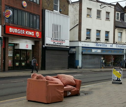 This picture, taken on Church Street on Tuesday, demonstrates the scant respect some Croydon residents (this has the look of a domestic dump, rather than industrial-scale fly tipping) have for their neighbours or neighbourhood. But it saved them a few bob from getting their old suite down to the tip