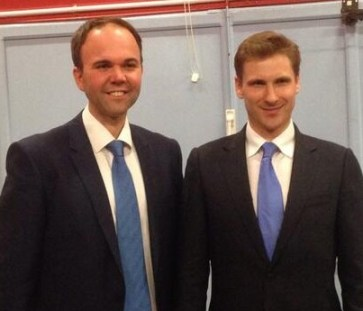 It should have been me: Chris Philp pictured tonight after winning the Croydon South nomination, alongside Gavin Barwell, who has a much less safe seat to contest in 2015 in Croydon Central