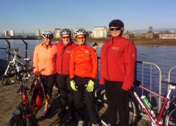 Four Croydon Breeze riders after their 10-mile cycle to Greenwich last weekend: Terri Smith, Adrianne Horne, the  Breeze area co-ordinator, Steph Upton and Deb Garbutt