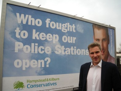 Chris Philp electioneering in his previous, unsuccessful, attempt to become an MP. The keeping police stations open bit didn't work, either
