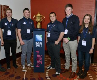 Warlingham's young ambassadors at Twickenham: From left, Peter Gee, Adam Hollidge, Mark Stevenson, Harry Blain and Stephanie Wright