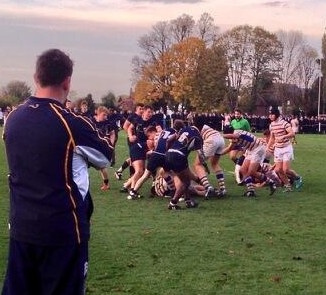 Forward power: Whitgift's first XV, in blue, enjoyed a more comfortable victory over John Fisher in the NatWest Cup yesterday