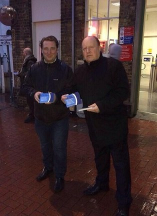Leader of the Labour group on Croydon Council, Tony Newman, right, canvassing commuters about rail fares this morning with activist Andrew Rendle
