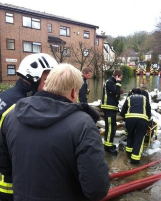 Boris Johnson, the Mayor of London, on his visit to Kenley on Saturday to see the work of emergency services
