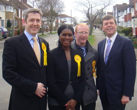 Now a former LibDem, Stephen Fenwick (second from right) campaigning in Worcester Park in 2010 with Paul Burstow, the local MP. It was a bad day for both yesterday
