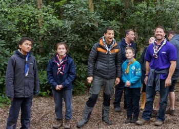 Chief Scout Bear Grylls, third left, and Steve Backshall helping Croydon cubs and scouts on their visit yesterday