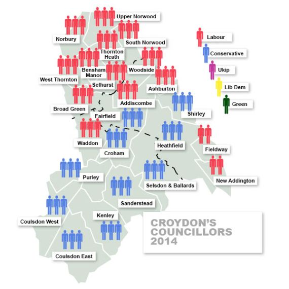 How the wards of Croydon are represented by councillors since May: the Tories lost four council seats in Barwell's Croydon Central