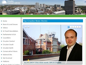 The Croydon Tories' website picturing Councillor Hoar in front of the now-closed Kenley Police Station