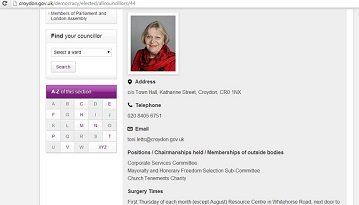 Toni Letts councillor page on the Croydon Council website, with no mention of her membership of the board of the Whitgift Foundation
