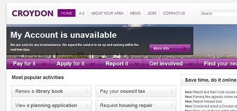 """How the council website appeared this morning. """"We expect it to be up and running within the next few days"""" it said, above a notice encouraging residents to """"Do It Online"""""""