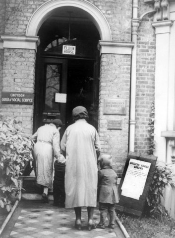 Croydon's first Citizens Advice Bureau, in 1939, at Eldon House, Lansdowne Road. Photograph from the Imperial War Museum collection