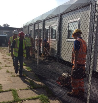 Work to prepare the temporary classrooms at Streatham and Croydon RFC for Paxton Academy continued right up to the start of term