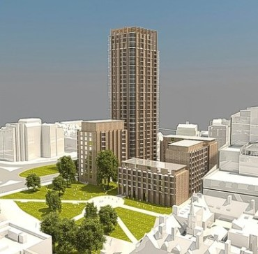 A model of the previous scheme for the Taberner site: the new scheme omits the smallest, 6-storey block, the 32-storey tower remains unaltered, and all other buildings will get an extra three or four floors under new proposals