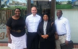 Gavin Barwell with members of the Thornton Heath-based church, including Pastor Bola Thomas (second from right)