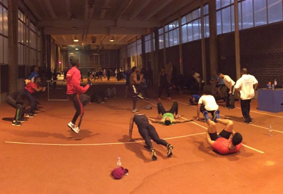 Athletes hard at work  at Crystal Palace's indoor training area this week. If demolished, they'd have no where to go
