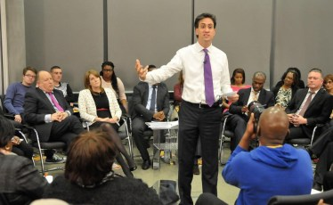 Labour leader Ed Miliband speaking at Fisher's Folly on Thursday