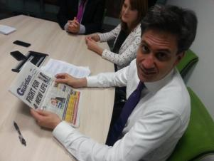 Ed Miliband in Croydon this week: he won't find the Croydon CEO job advertised in that paper, or any other