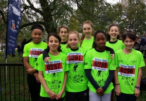 Croydon's under-13s girls team after racing in the London Youth Games cross-country