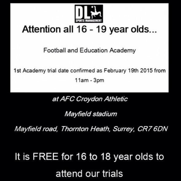 Croydon Athletic trials