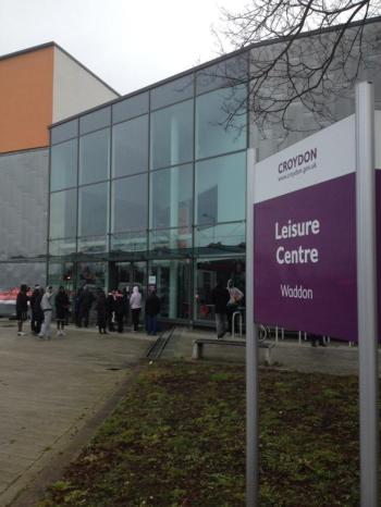 A crowd of bemused and angered swimmers and gym users gather this morning, when staff failed to open up Waddon Leisure Centre on time