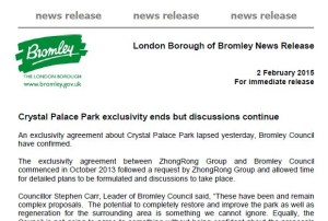 Today's Bromley Council press release: keeping the door ajar