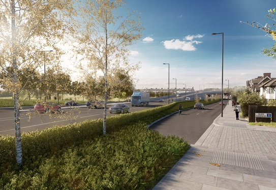How TfL's artist tries to represent the four-lane highway from the new Boris flyover on Duppas Hill Road. If the houses (on the right of the picture) remain, then the road will be built on Duppas Hill Park