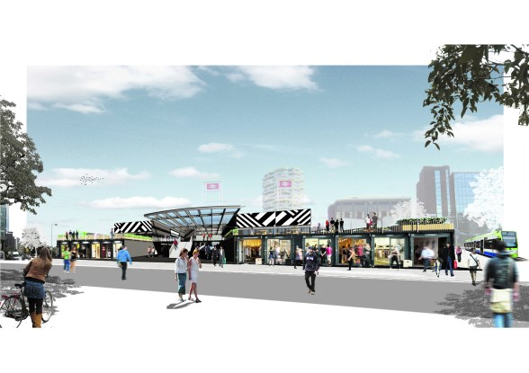 How the developers' artists envisage Boxpark will appear alongside East Croydon Station next year