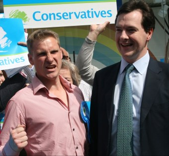 The acceptable face of Conservatism? Chris Philp, left, out campaigning with Gideon Osborne