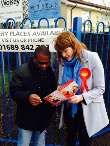 Labour candidate Sarah Jones speaking to parents at Wolsey infants school on Monday