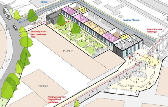 """Note the secondary access planned for Ruskin Square's Vita development, intended for the people living in the scheme's 24 """"affordable"""" apartments"""