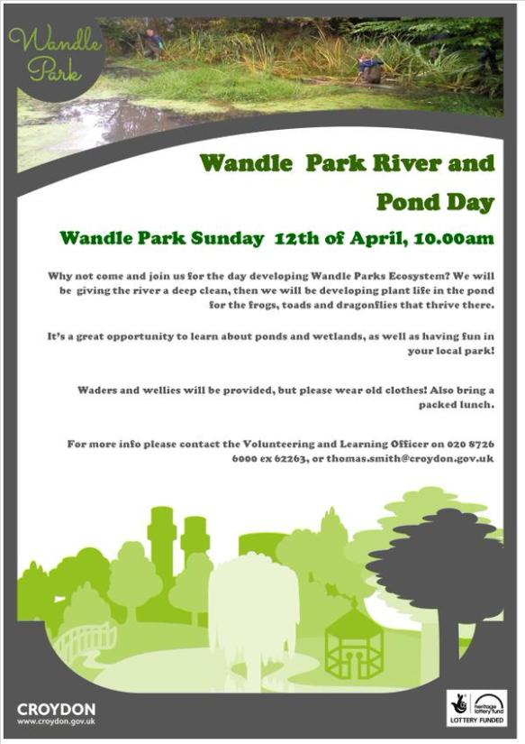 Wandle Park river and pond day