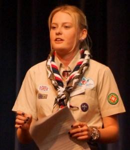 UK Scouting's Youth Commissioner addresses the Croydon awards night