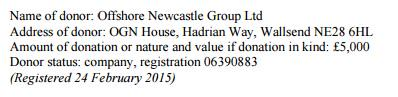 Offshore Newcastle Group's £5,000 donation to Barwel's fighting fund: what will they want in return?