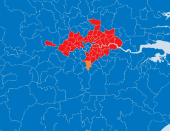 This is what the political map of south-east England looks like this morning