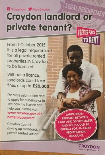 How Croydon Council has been leafleting properties around the borough about the landlord licensing scheme, even since the call for a Judicial Review was filed