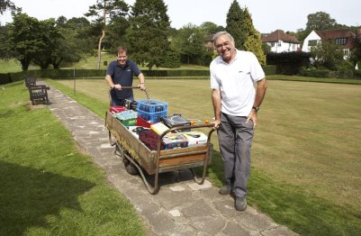 Peter Morris, foreground, has done much volunteer work to re-open the bowling green at Marlpit Lane