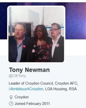 Tony Newman's Twitter profile. Croydon AFC? Really?